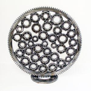 Abstract art sculpture made of ball bearings