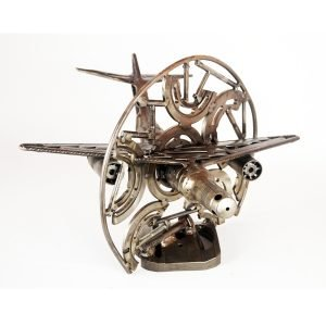 metal sculpture airplane