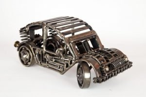 Metal car sculpture