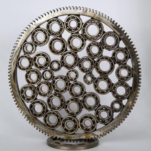 Metal circle sculpture cells