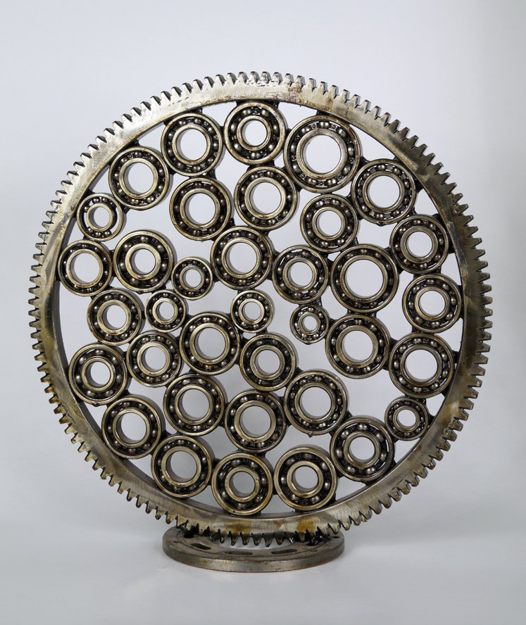 Abstract art sculpture made of ball bearings