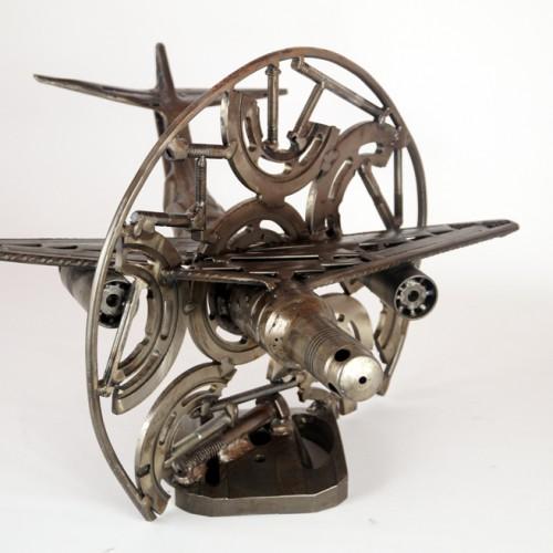 metal sculpture airplane