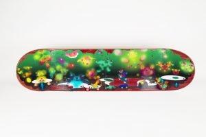 Mixed media on skateboard by visual artist Eri Skyrgianni