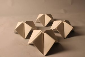 Handmade pottery salt and pepper shakers Origami