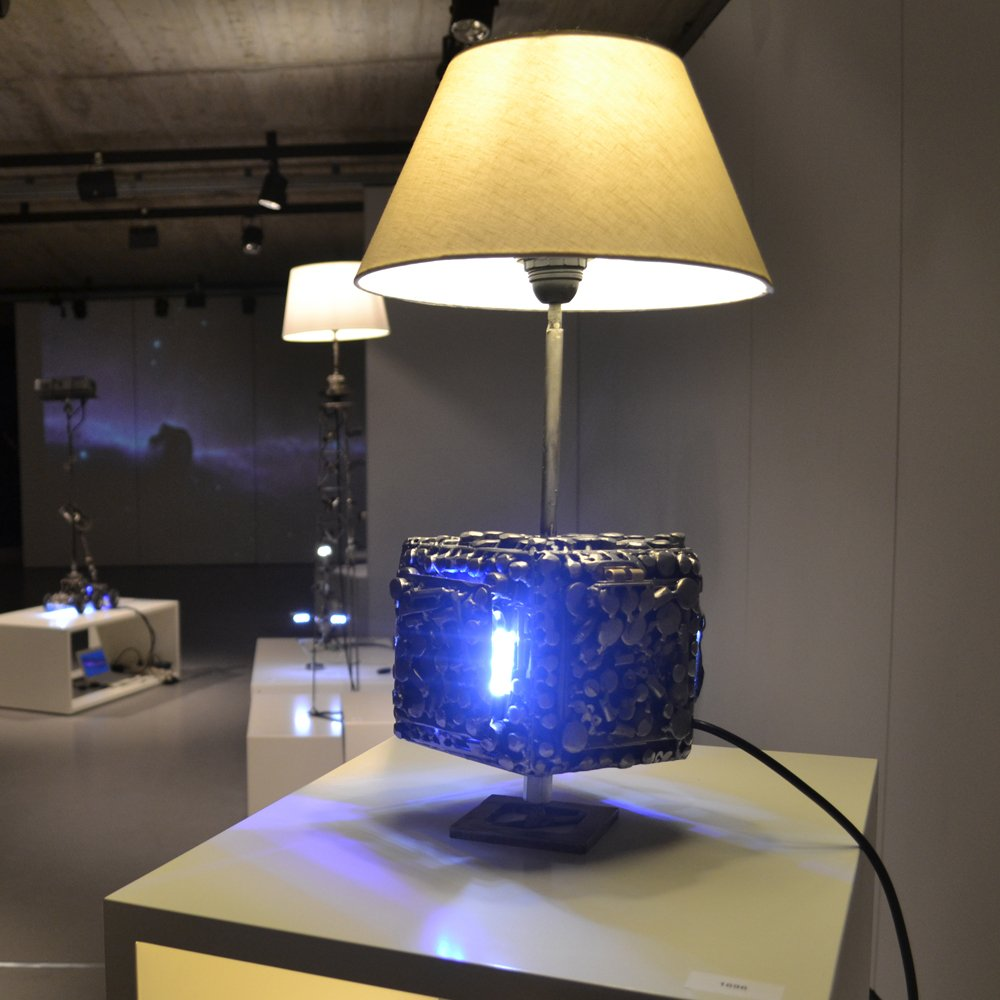 Contemporary art metal sculpture lamp sci fi