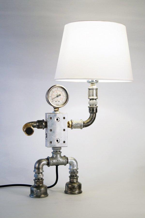 Plumbing pipe desk lamp