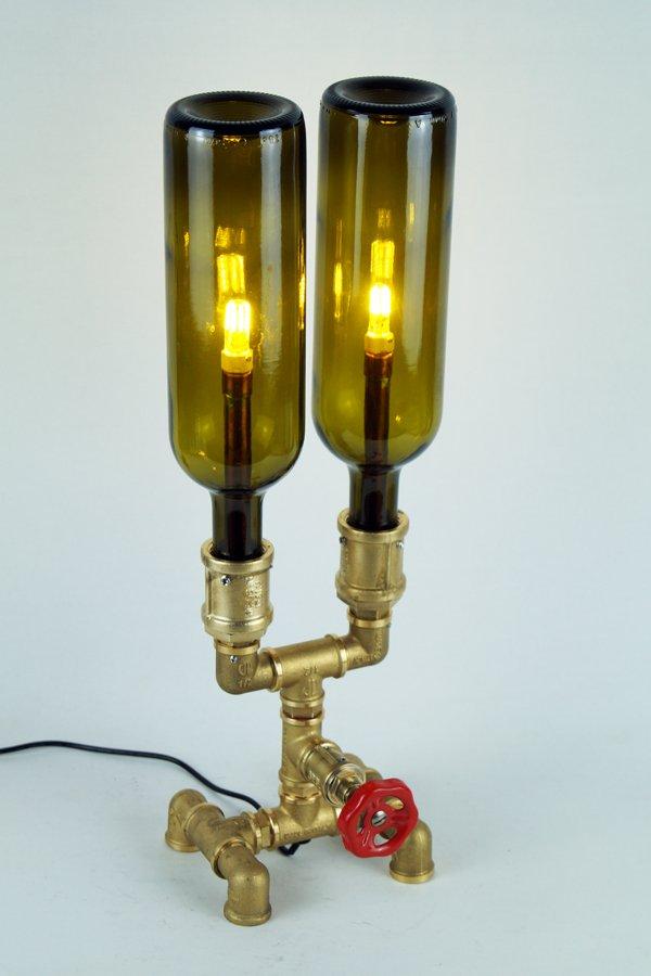 Plumbing desk lamp with bottles