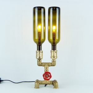 Plumbing desk lamp with bottles