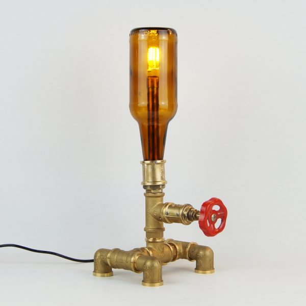 steampunk lamp made of bottle