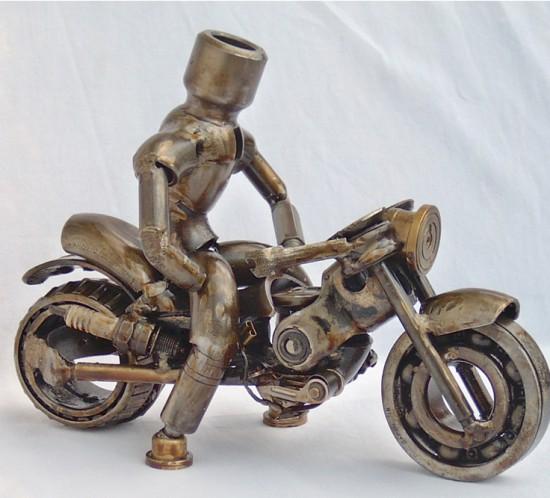 creating motorcycle metal sculpture