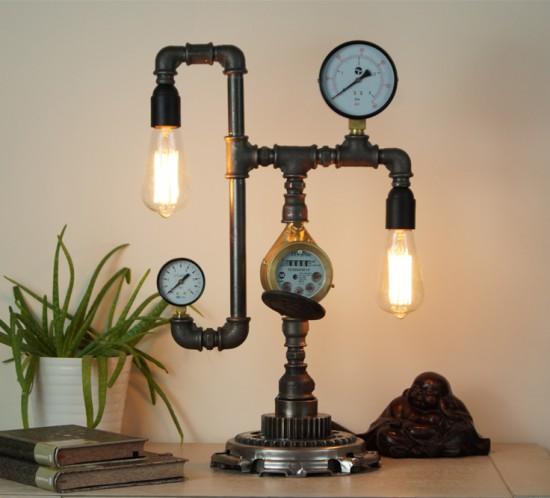 Steampunk plumbing pipe desk lamps