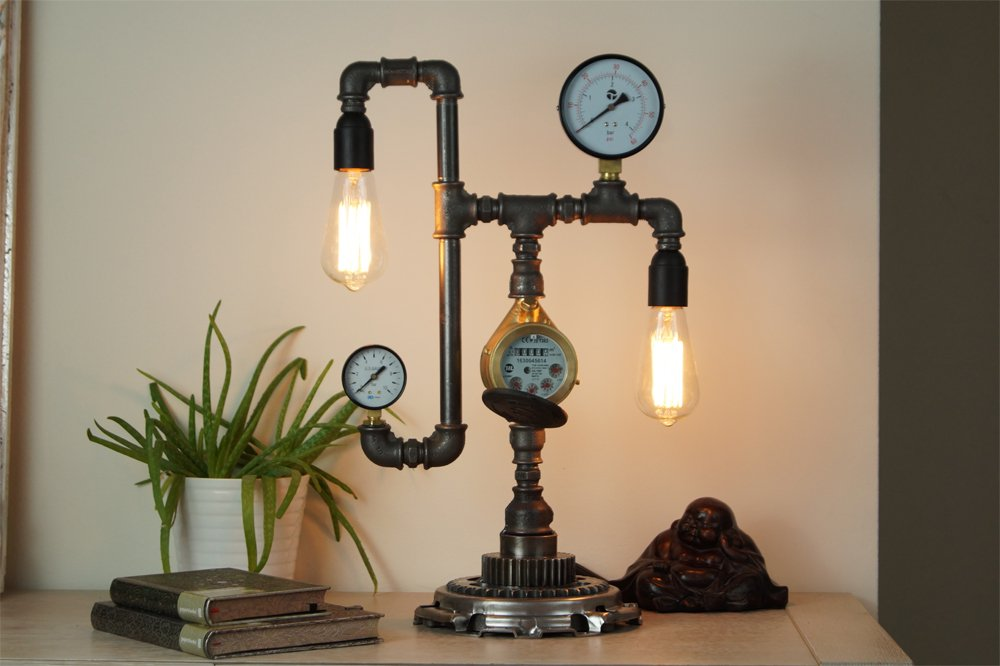 Steampunk plumbing pipe desk lamps