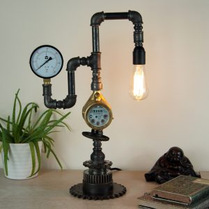 Steampunk style black iron pipe lamp