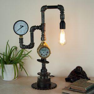 Steampunk style black iron pipe lamp