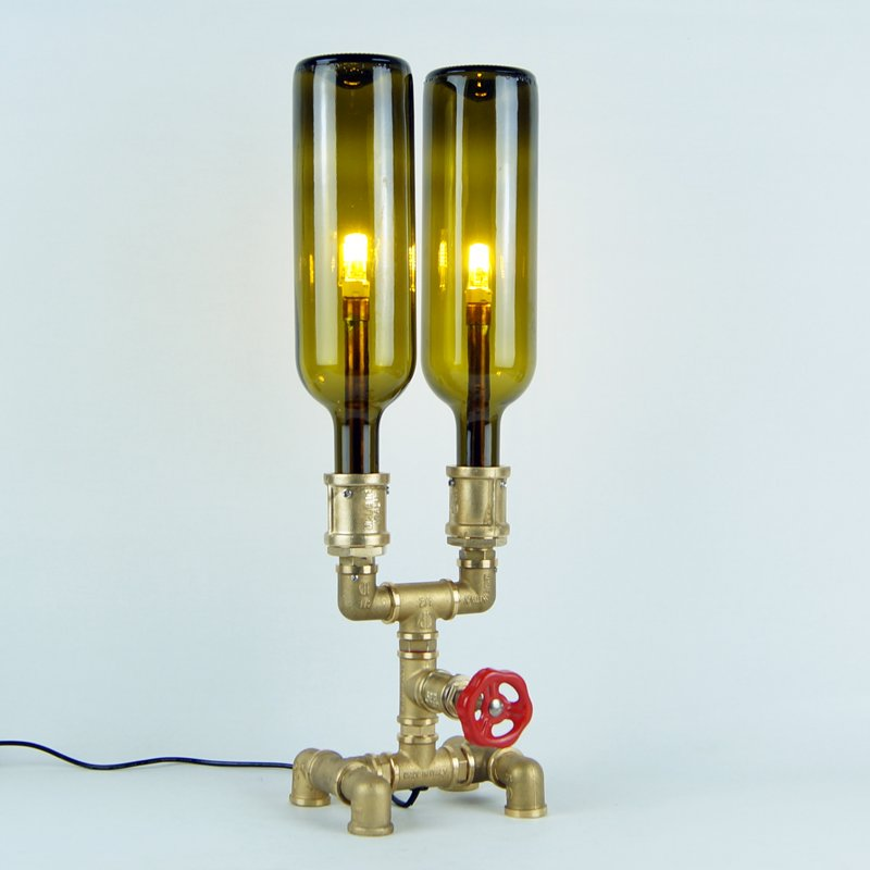 Contemporary metal sculpture steampunk lamp