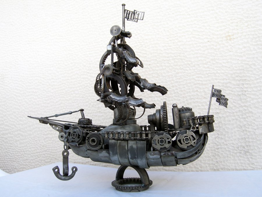 marine ship boat art sculpture