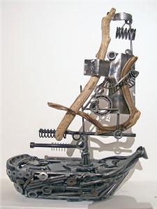 metal ship sculpture