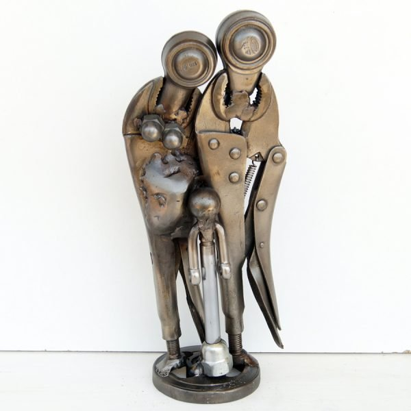 metal figurative family sculpture