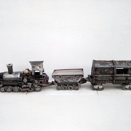 metal art train sculpture