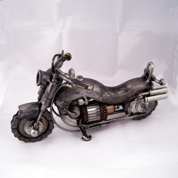 Metal motorcycle art sculpture