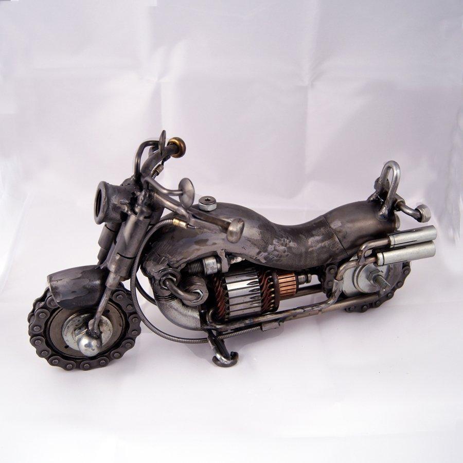 Motocycle steampunk metal sculpture