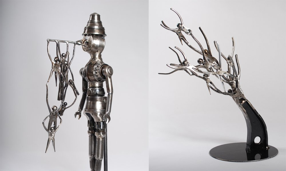 Contemporary metal art sculptures
