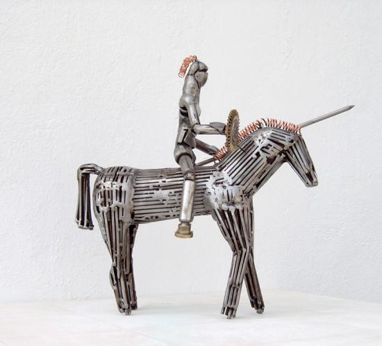 metal sculpture don quixote