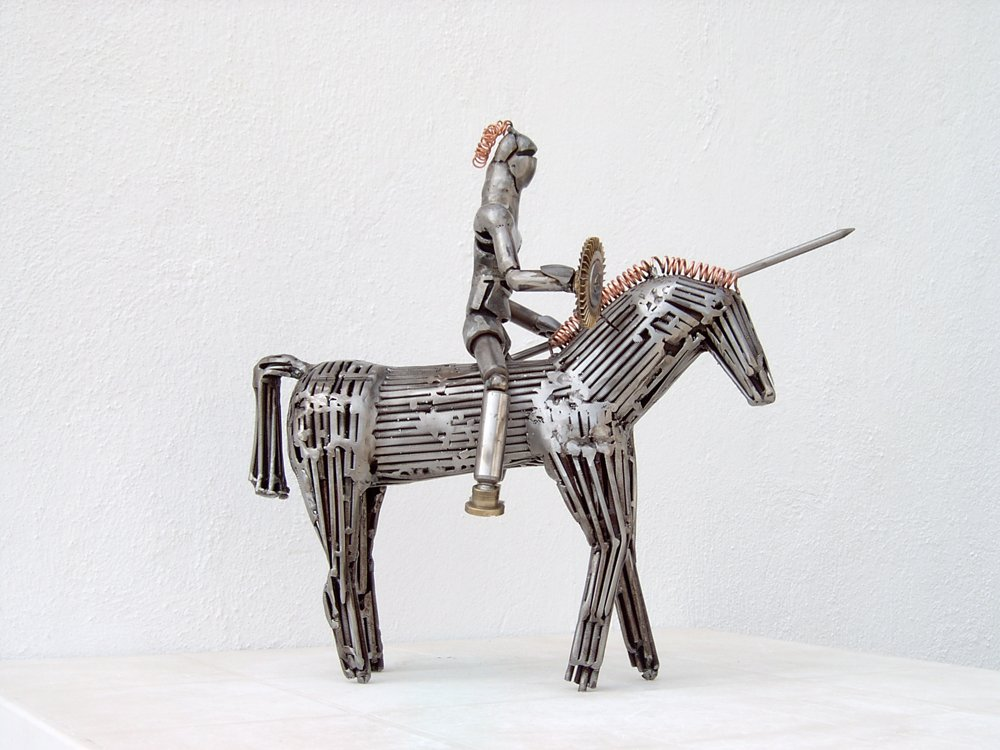 metal sculpture don quixote