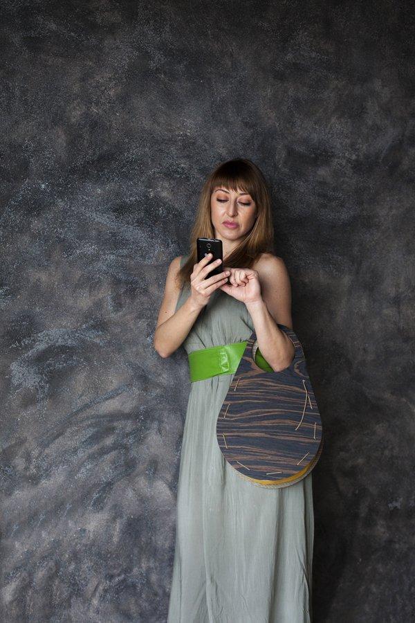 Wooden Handbag / Oval / Ecofriendly / Awarded Design / Gift for her