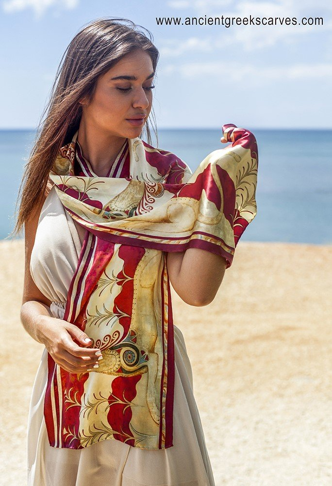 Wearing a scarf / 100% silk printed scarf in Greece