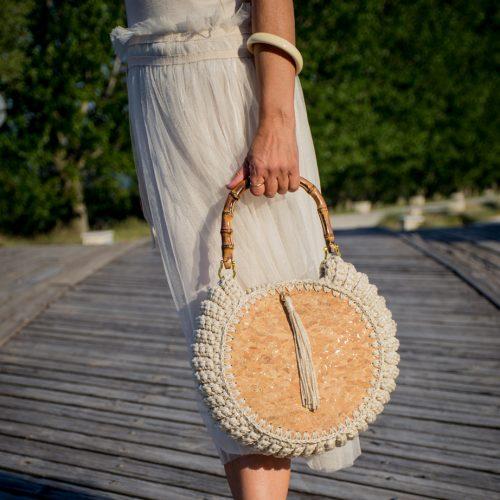 Handmade crochet bag round