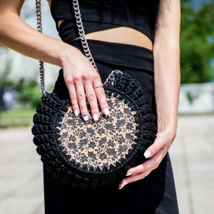 Cork and knitted round purse