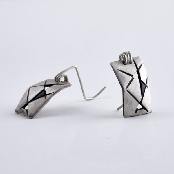 "Modern jewelry silver earrings ""Shields"""