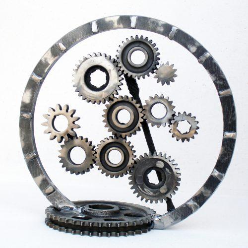 Industrial art made of metal gears