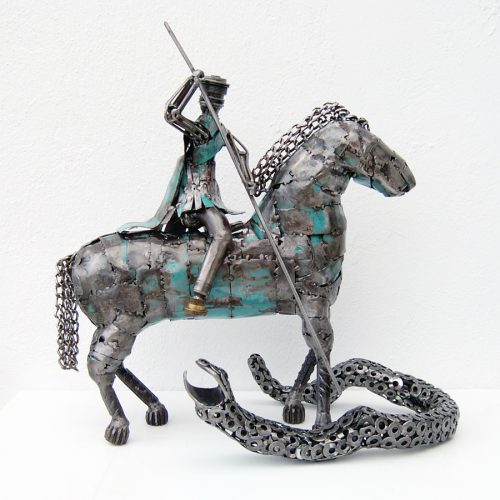Saint george modern art scrap metal sculpture