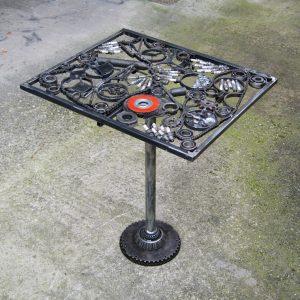 scrap metal art table