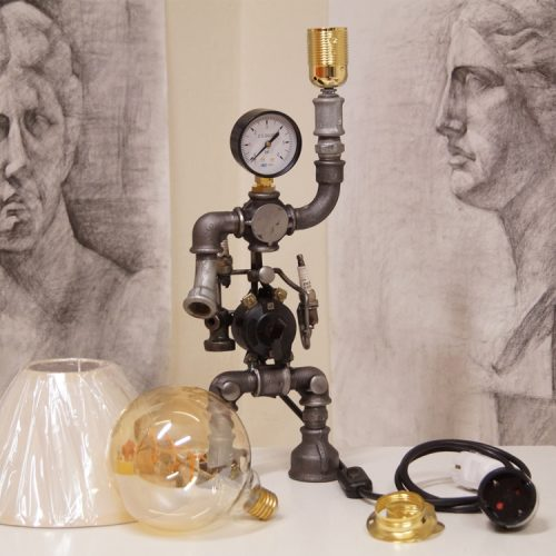 Modern steampunk decor table lamp made of industrial parts
