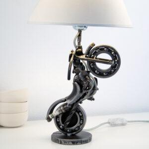 Motorcycle metal sculpture lamp