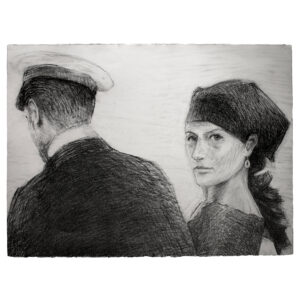 Woman drawing with graphite
