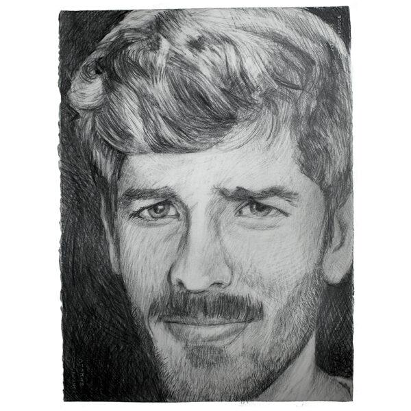 Graphite drawing man portrait