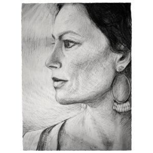 Graphite drawing woman portrait