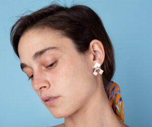 Unique Sterling silver jacket earrings