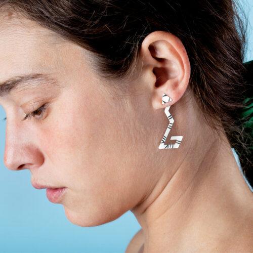 Modern sterling silver ear jackets