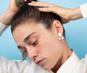 Geometric sterling silver stud earrings