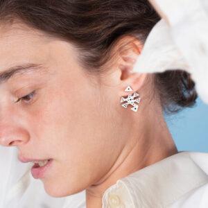 Silver statement jacket earrings